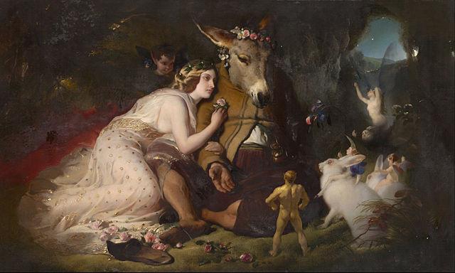 scene from A Midsummer Night's Dream. Titania and Bottom