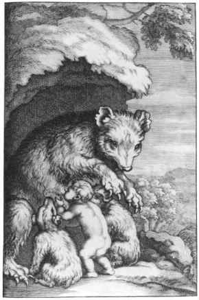 bear suckling child