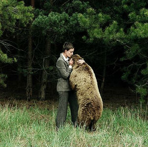 brown bear with woman