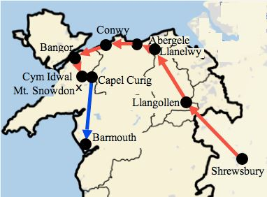 Map of Darwin's Welsh tour