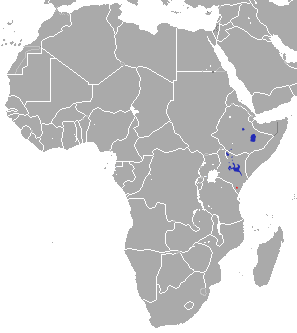 Map of distribution of Grevy's zebra in Africa
