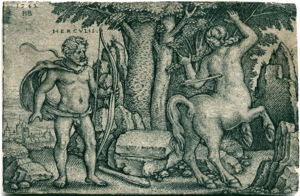 Hercules shooting the centaur Nessus