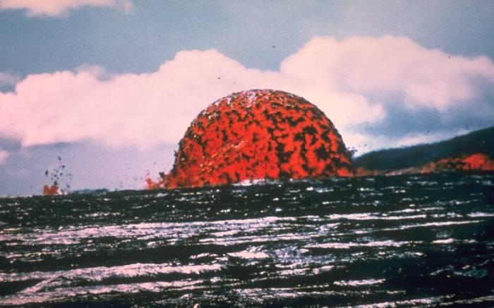 Picture of a lava dome fountain during the 1969 Mauna Ulu eruption of Kilauea Volcano, Hawai`i