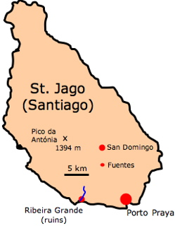 Map of Santiago, Cape Verde Islands, showing sites visited by Darwin